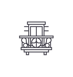 Balcony terrace line icon sign vector