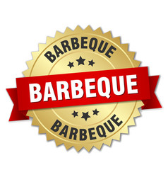 Barbeque 3d gold badge with red ribbon vector