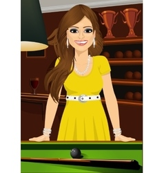 Beautiful woman leaning on a pool table vector
