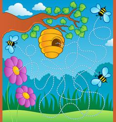 bee theme maze vector image