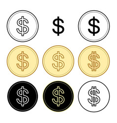 black and yellow dollars - set of coins vector image