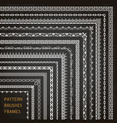 Border frame line pattern brushes corners 1 vector