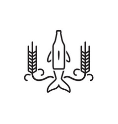 brew bottle nose dolphin logo icon with grain vector image