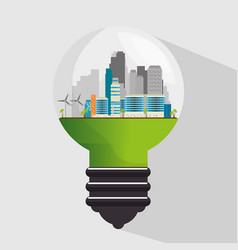 bulb with ecology green city scene vector image
