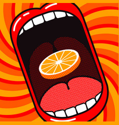 cartoon large open mouth with slice orange vector image