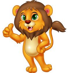 cartoon lion giving thumb up vector image