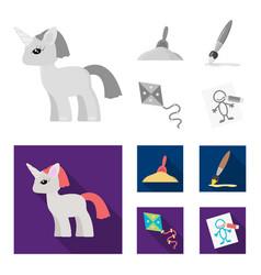 Children toy monochromeflat icons in set vector