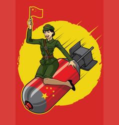 Chinese pin up girl ride the nucler bomb vector