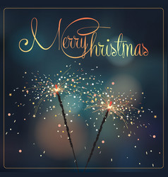 christmas with sparklers vector image