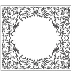 Circle frame with vintage floral ornament vector