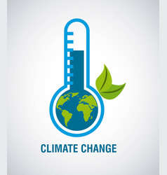 Climate change earth inside ecology thermometer vector