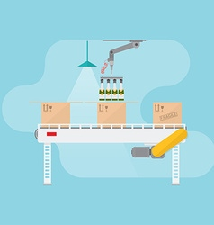 Conveyor system in flat design vector image