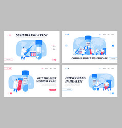 Covid19 diagnostics test landing page template set vector