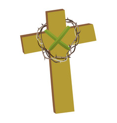 Cross with crown of thorns isolated on white vector