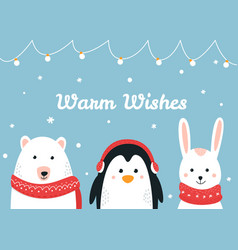 Cute woodland animals warm wishes christmas vector