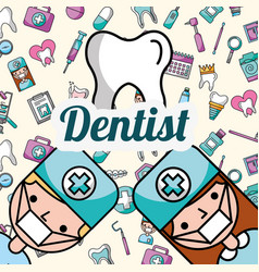 Dentists boy and girl tooth oral hygiene poster vector