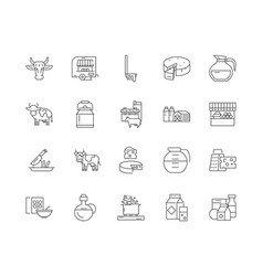 Diary products line icons signs set vector