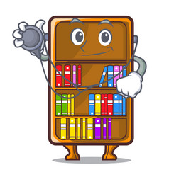Doctor mascot bookcase beside the study desk vector