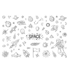 doodle space trendy universe pattern star vector image
