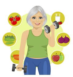 Elderly woman with dumbbells vector