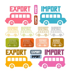 Export import icons isolated on white background vector