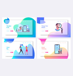 Facial recognition technology landing page vector