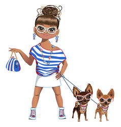 Fashionable girl with a little dog vector