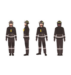 Firefighter or fireman wearing protective clothes vector
