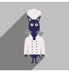 Flat icon with long shadow mouse chef vector