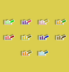 flat icons set of column chart and paper knife vector image