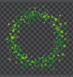 frame or border of random scatter clover leaves vector image