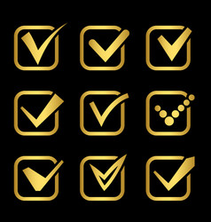 golden confirm signs icons collection vector image