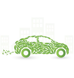 Green eco car concept made up of green leaves vector