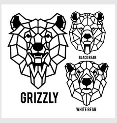 grizzly black bear white bear - animal heads vector image