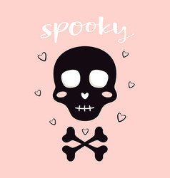 Halloween card with skull isolated on pink vector