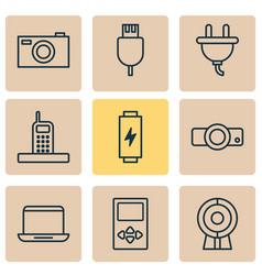 Hardware icons set with laptop plug photo vector