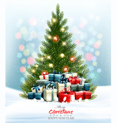 holiday background with a colorful presents and vector image