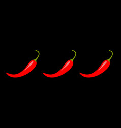 hot red chili jalapeno pepper icon set line vector image