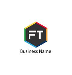 Initial letter ft logo template design vector