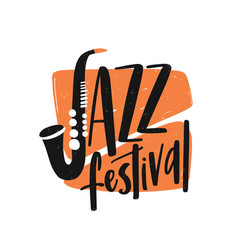 Jazz festival hand drawn lettering saxophone vector