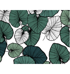 jungle pattern hand drawn outline black ink vector image