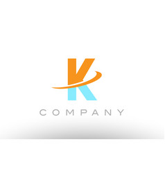 K orange blue logo icon alphabet design vector