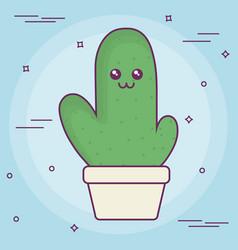 kawaii cactus in a pot icon vector image