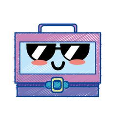 Kawaii cute funny suitcase design vector