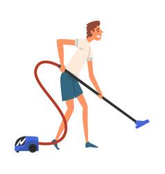 man vacuuming floor guy doing housework vector image