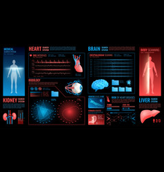 Medical dark interface elements vector