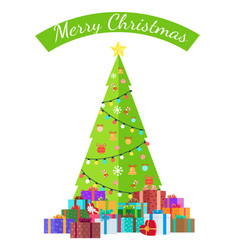 merry christmas congratulation from bright spruce vector image