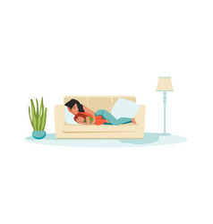 Mother and kid sleeping cartoon daughter and mom vector