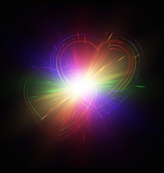 Multicolored hearts on a dark background vector