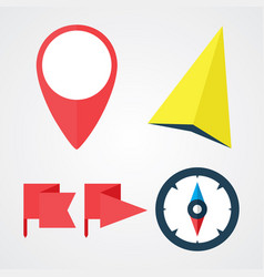 navigation and location flat icons set vector image